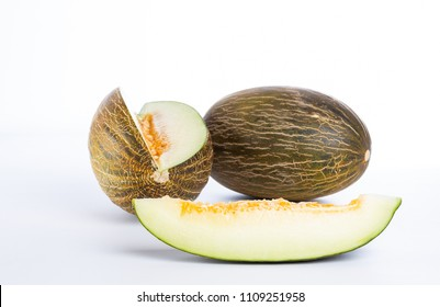 Fresh melon sliced, with white background
