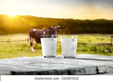 Fresh milk on desk and free space for your decoration. Sunset time and rural landscape.