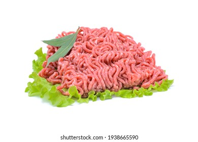 Fresh minced pork and beef.Isolated on a white background, selective focus. horizontal view