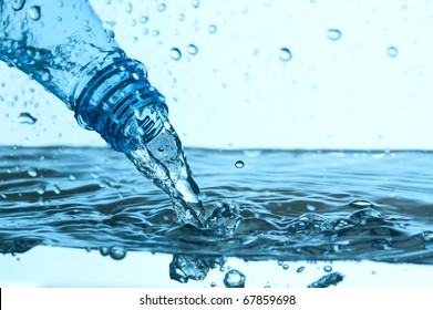 Fresh mineral water with blue bubbles