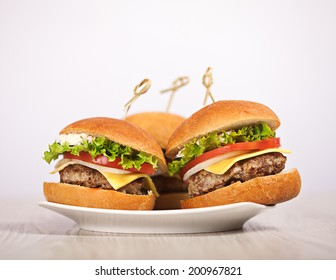 Fresh mini burger served meal on table