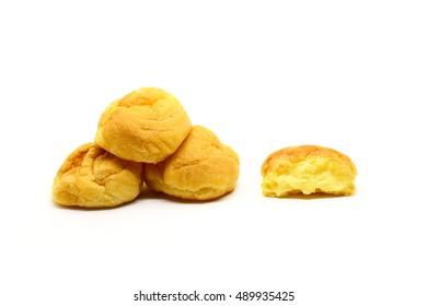 Fresh Mini Cream Puffs ,Close Up on white background