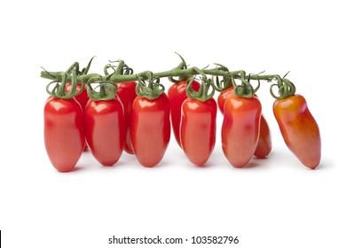 Fresh mini San Marzano  tomatoes on a vine isolated on white background