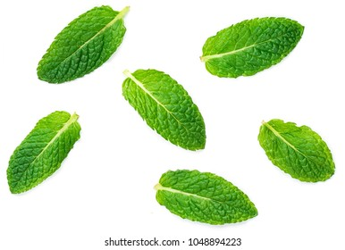 Fresh mint leaves pattern isolated on white background, flat lay. Macro