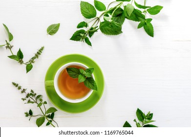 Fresh mint tea concept, view from above, flatlay, space for a text