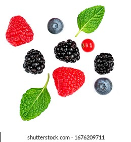 Fresh mix  berries isolated on white background. Strawberry, Raspberry, cranberry, Blueberry and Mint leaf, flat lay. Top view - Shutterstock ID 1676209711