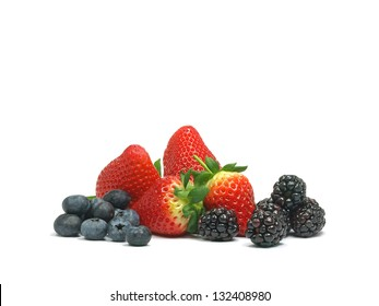 fresh mix of blueberries, strawberries and blackberries