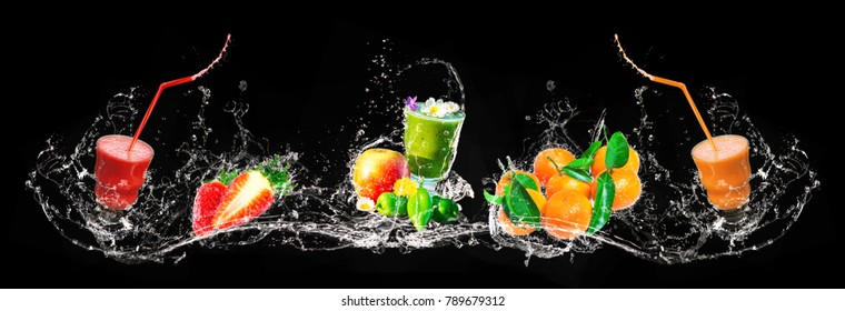 Fresh mix of smoothies and fruit, splashing, banner