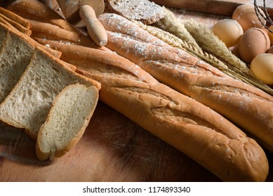 Fresh mixed baked delicious bread and wheat, Food and ingredient concept
