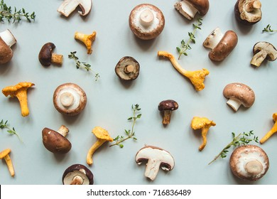 Fresh mixed forest mushrooms on the blue background, top view.