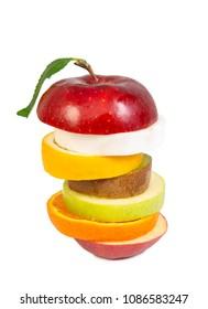 Fresh Mixed Fruit isolated on white