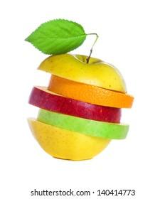 Fresh mixed fruit isolated on white background