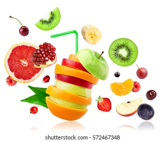 Fresh mixed fruits falling on white background. Food concept