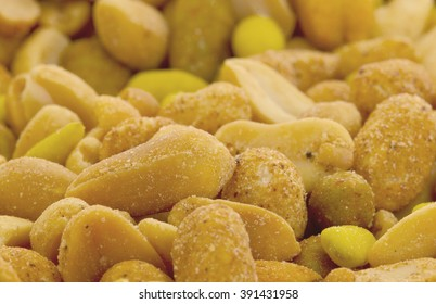 Fresh mixed salted nuts for backgrounds, peanut mix