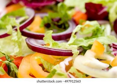 fresh mixed vegetable salad studio shots