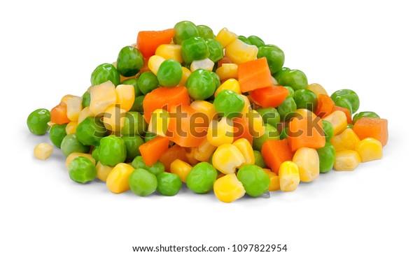 Fresh mixed vegetables  on white. Golden mix.