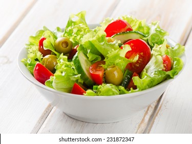Fresh mixed vegetables salad. Selective focus