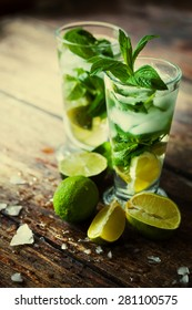 fresh mojito on a rustic table