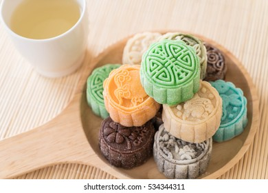 fresh moon cake on wood plate