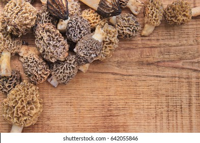 Fresh morel mushrooms on rustic wooden table, top view. Close-up bunch of fresh morels of various types on a wooden table ready to cook. Morel mushrooms background.