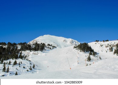 Fresh mountain ski slope in ski resort Grandvalira, Andorra