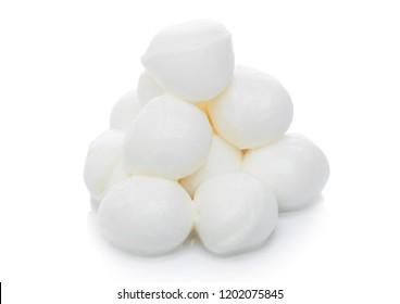 Fresh Mozzarella cheese on white background. Diary product