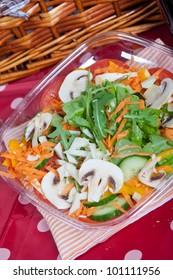 Fresh mushroom salad with arugula, tomatoes and carrots