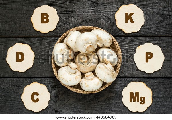 Fresh mushrooms in a basket. The source of vitamins A, C, PP, group B, protein, minerals, amino acids. Diet, health or vegetarian food concept
