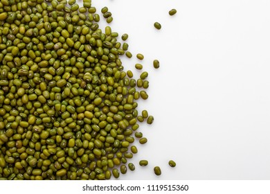 fresh muung beans on a white background