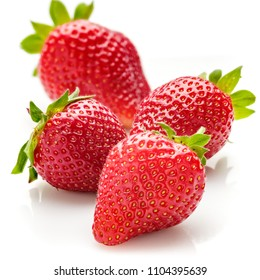Fresh natural strawberries on white background