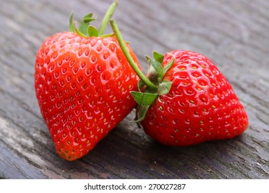 Fresh Natural Strawberry on Wooden Table