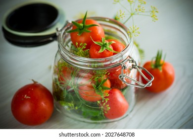 fresh natural tomatoes with spices prepared for conservation
