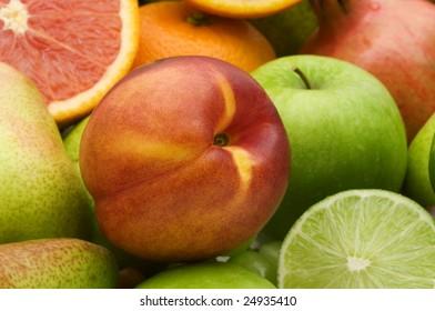 fresh nectarine on fruits background