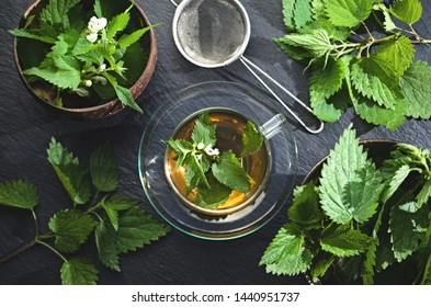 Fresh nettle tea, natural medicine, phytotherapy