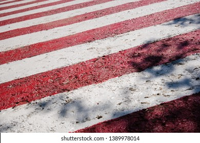 Fresh new red and white stripes, diagonal signal lines. Striped pedestrian crosswalk with black shadows from trees