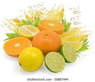 fresh nice citrus fruits with leaves and juice drops isolated on white