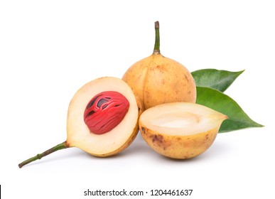 Fresh nutmeg fruit and cut in half with green leaf isolated on white background