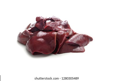 Fresh offal. Liver isolated on a white background.