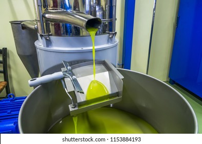 fresh oil flowing in the bin after processing at the mill