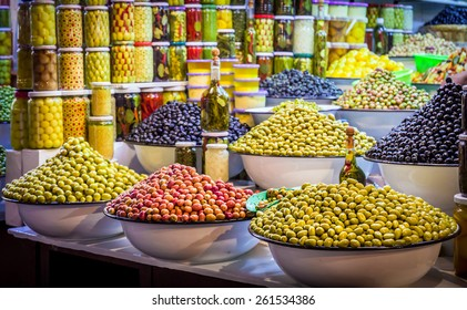 Fresh olives and preserves at moroccan market in Marrakesh