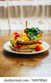 Fresh omelet sandwich