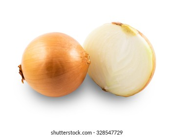 Fresh onion on white background, organic onion