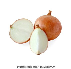 Fresh onion with slice onion isolated on white background.