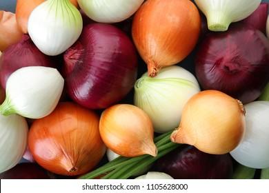 Fresh onions as background. Organic food