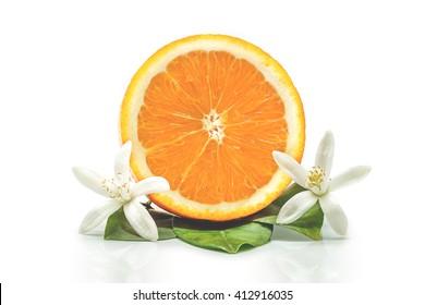 Fresh orange with orange blossom