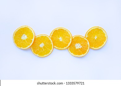 Fresh orange citrus fruit isolated on white background