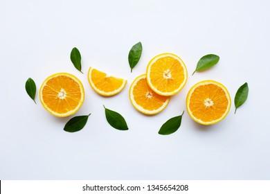 Fresh orange citrus fruit isolated on white background. Juicy, sweet and high vitamin C