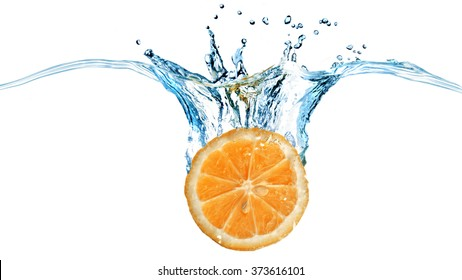 Fresh orange dropped into water with splash isolated on white. Header for website