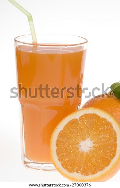 Fresh orange food and juice  isolated over white background