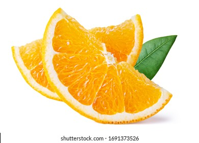 Fresh orange fruit with green leaves isolated on white background. Clipping path. Full depth of field.